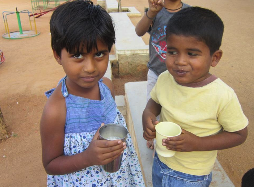 Madulatha and Madu enjoying some afternoon soya milk.