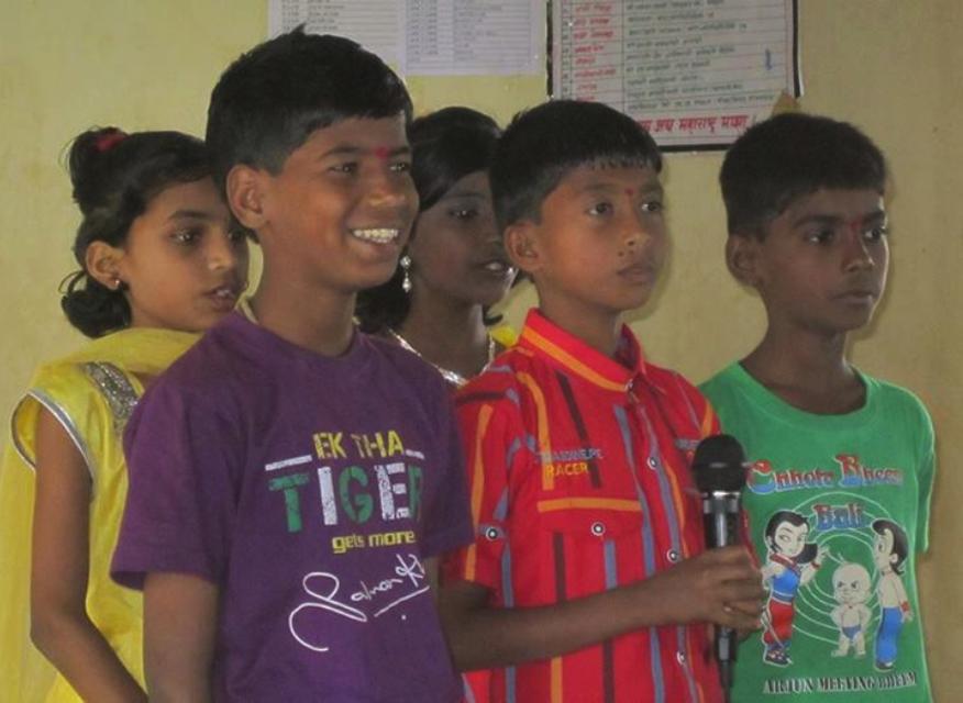 Children from the English medium school.