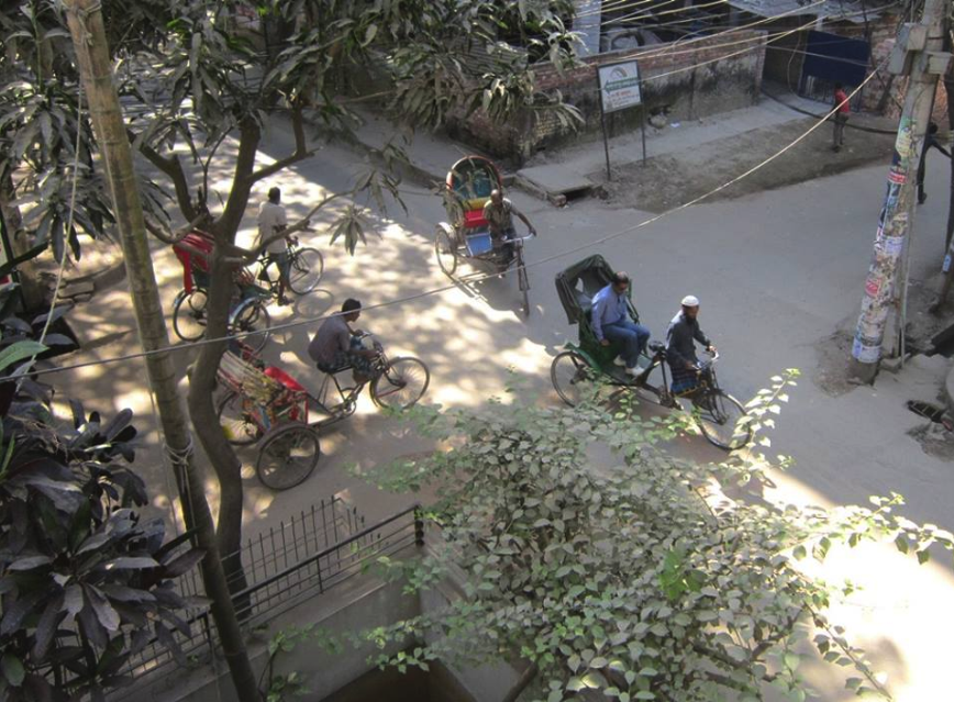 Rickshaws from a balcony in Dhaka