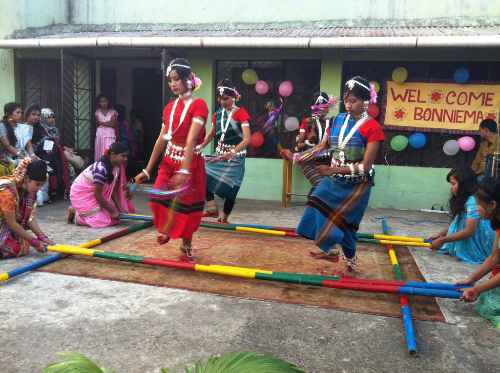 Religion is closely entwined with culture and can be expressed in many ways. Here we see some the Tribal children performing a tradition bamboo pole dance.