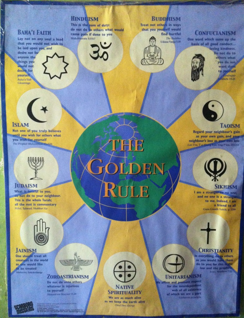 This poster is placed in all of the Child Haven homes to help celebrate our religious diversity and to remind us that all religions share some core values and beliefs.